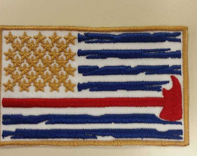 Firefighter Flag Embroidered Patch, Firefighter Flag Iron On patch