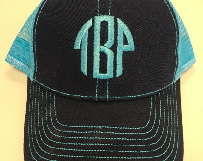 Monogrammed Initial Cap with Mesh Back, Embroidered Initials Cap