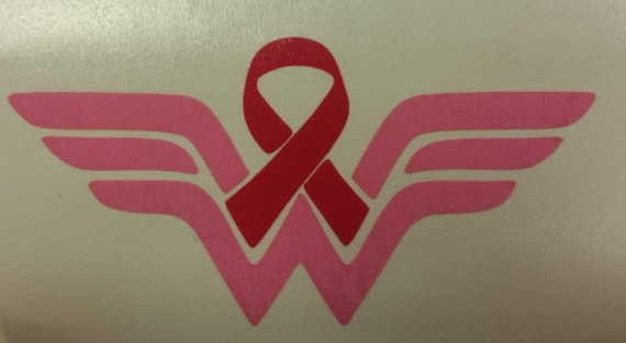 Cancer Ribbon Female Superhero Decal,  Car Window Decal Cancer Ribbon
