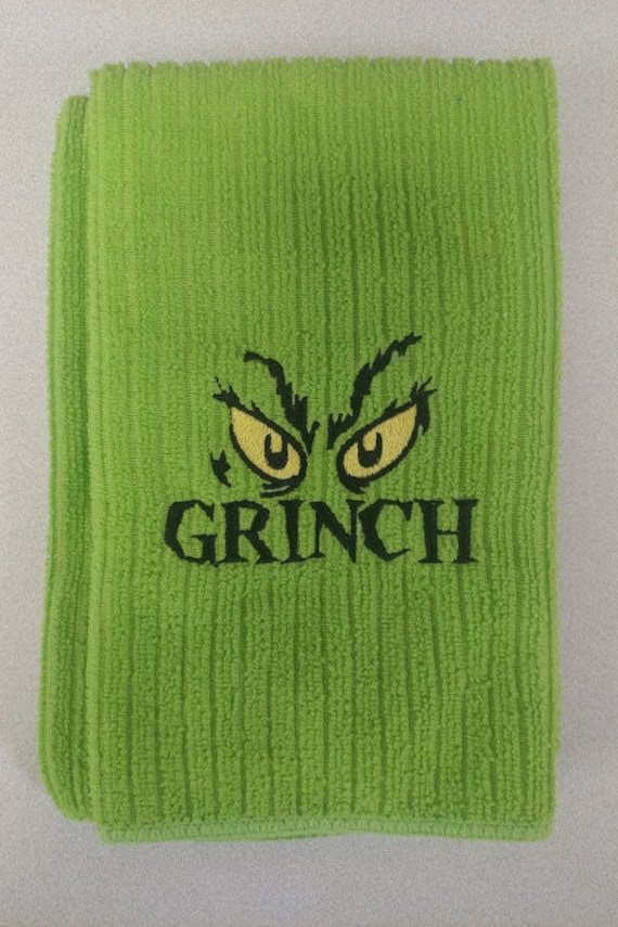 Mean Green Grumpy Christmas Hand Towel, Christmas Classic Kitchen Towel