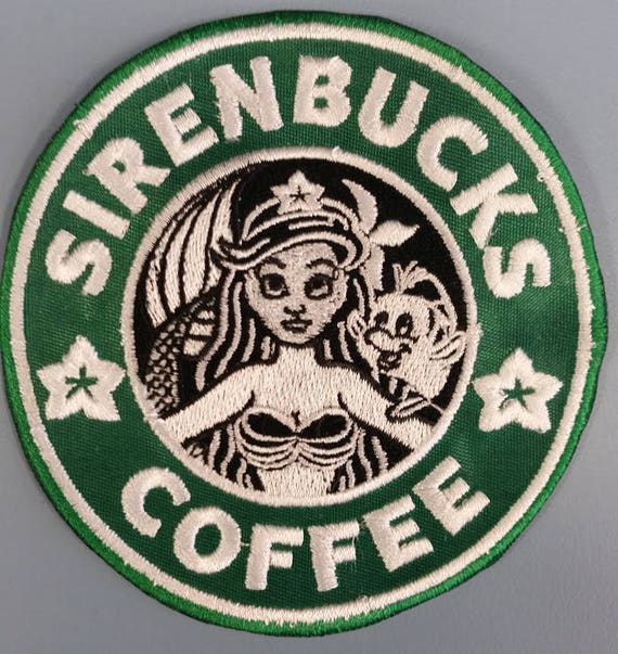 Coffee Shop Mermaid Parody Embroidered Patch,  Sirenbucks Coffee Iron On Patch, Mermaid princess patch