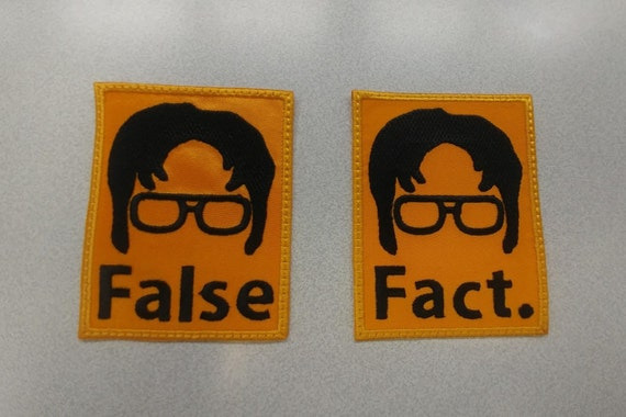 Workplace Sitcom Applique Embroidered Patch, Fact & False Iron On Patch