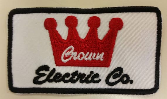Crown Electric Embroidered Patch, Rockabilly Patch, King of Rock n Roll Patch, Trucker Patch, Applique Iron On Patch, Memorabilia Patch