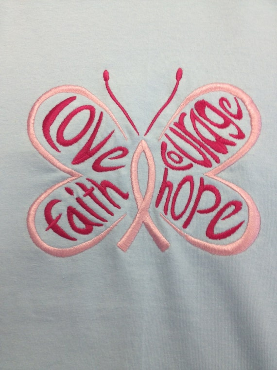 Cancer Awareness T-shirt, Butterfly Embroidery, Love Hope Faith Courage Tee, Cancer Ribbon, Awareness Tee, Cancer Butterfly Shirt