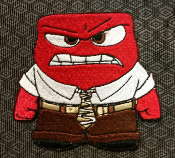 Cartoon Character Angry Patch, Cute Anger Embroidered Patch, Iron On Cartoon Patch