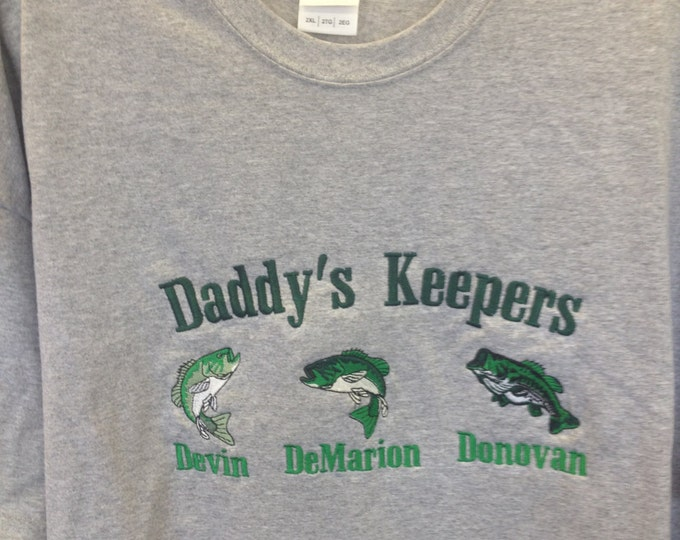 Father's Day Tee Shirt, Daddy's Keepers with kid's names, Fisherman's Personalized Tee with Children's Names, Custom Christmas Gift for Dad,