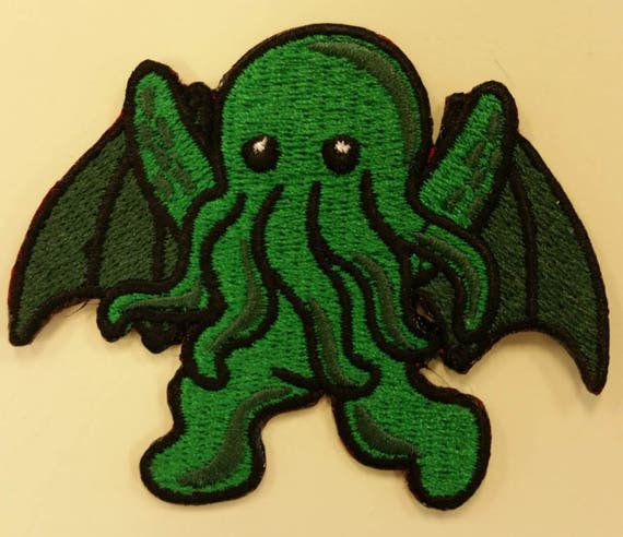 Cthulhu Embroidered Iron On Patch, Lovecraft Inspired Patch, Urban Legend Patch, Mystical Creatures Patch