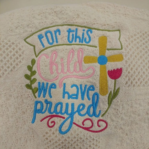 Baby Embroidered Afghan, Baby Shower Gift Inspirational, New Baby Arrival Blanket