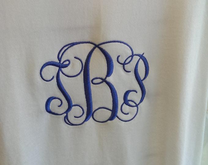 Monogrammed Long Sleeved Unisex T-Shirt, Interlocking Vine Monogram Tee, Fancy Personalized Shirt, Embroidered Monogram Tee