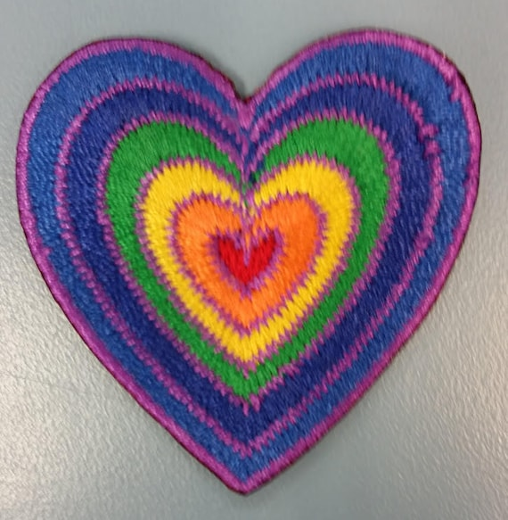 Rainbow Heart Embroidered Patch, Small Iron On Rainbow Heart Patch