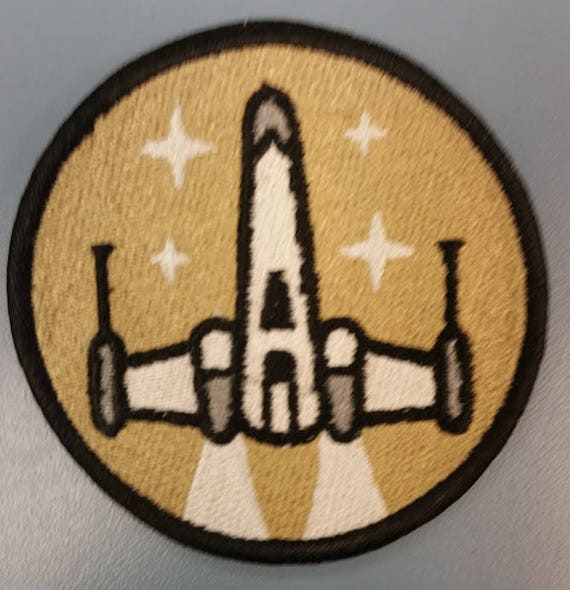 Sci Fi Starfighter Embroidered Patch,  Iron On Star Ship patch
