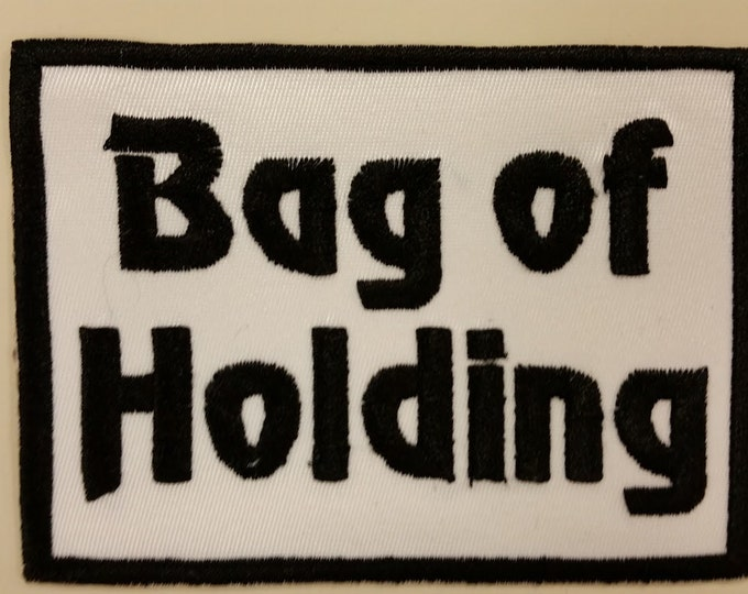 Role Playing Gamer patch for bags, Bag of Holding Patch, Embroidered Bag of Holding Iron On Patch, RPG Patch, Geeky Patch