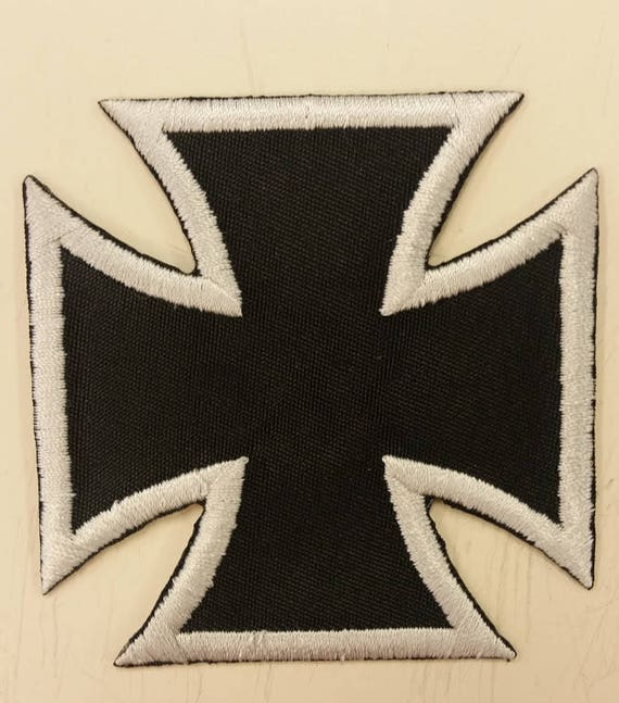 Iron Cross Applique Iron On Embroidered Patch,  Biker Patch, Motorcycle Patch