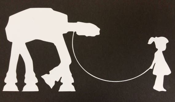 Little Girl Walking an Armored walker Vinyl Decal,  Sci Fi Fan decal, Space universe decal