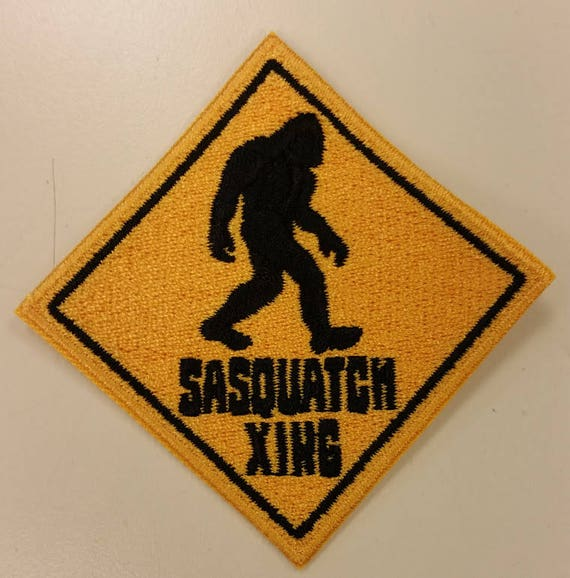 Sasquatch Crossing Embroidered Patch, Bigfoot Iron On Patch, Urban Legends Patch