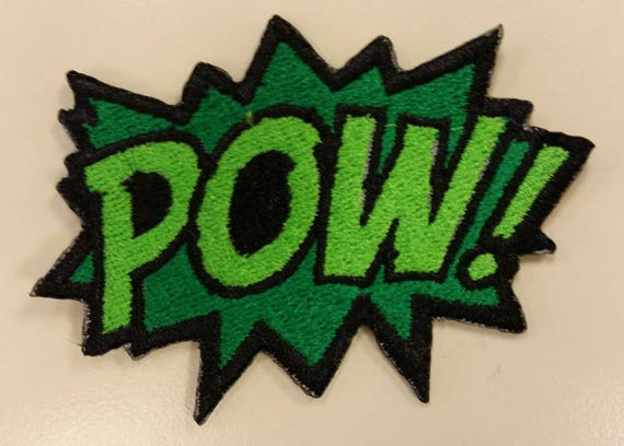 Comic Book Inspired Embroidered Iron On Patch, Pow! Embroidered Patch, Superhero Patch, Expressions Patch