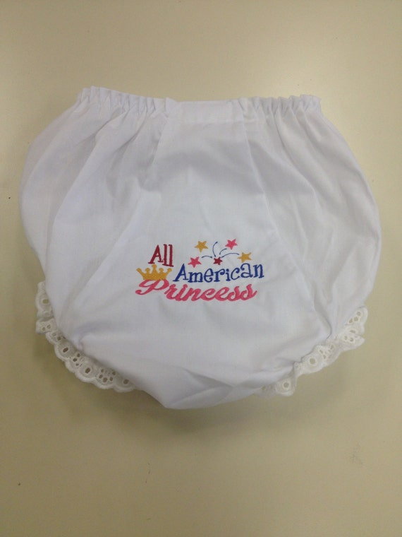 Star Spangled Cutie Patootie Diaper Cover Bloomers, All American Princess Diaper Bloomers with Ruffle Bottoms, Embroidered Bottoms