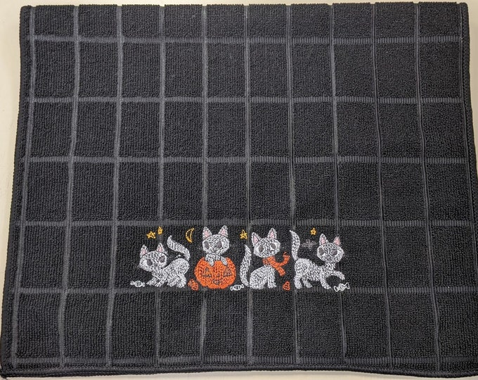 Halloween Cute Kittens Spooky Embroidered Kitchen Towel