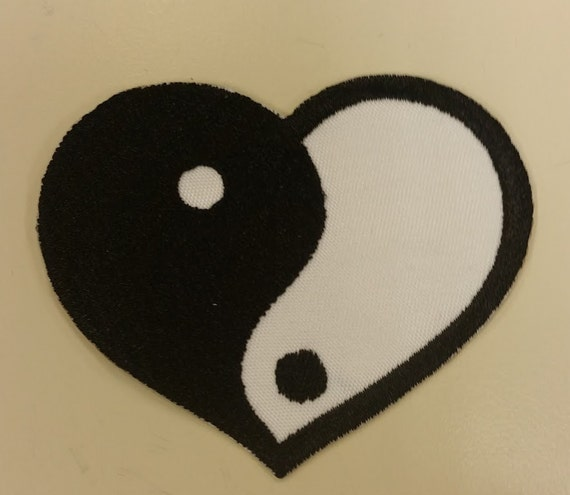 Yin Yang Embroidered Patch with Iron on Backing,  White & Black Heart Yin Yang Patch