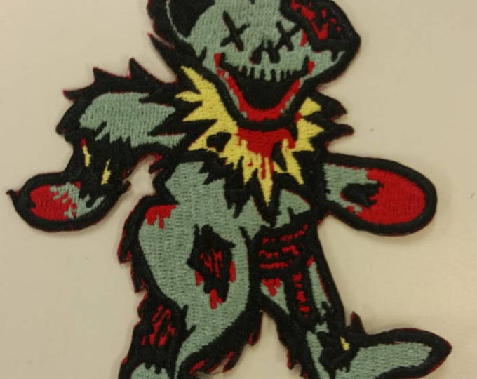 Undead Bear Embroidered Patch, Zombie Bear Iron On Patch, Rockin' Undead Bear Patch