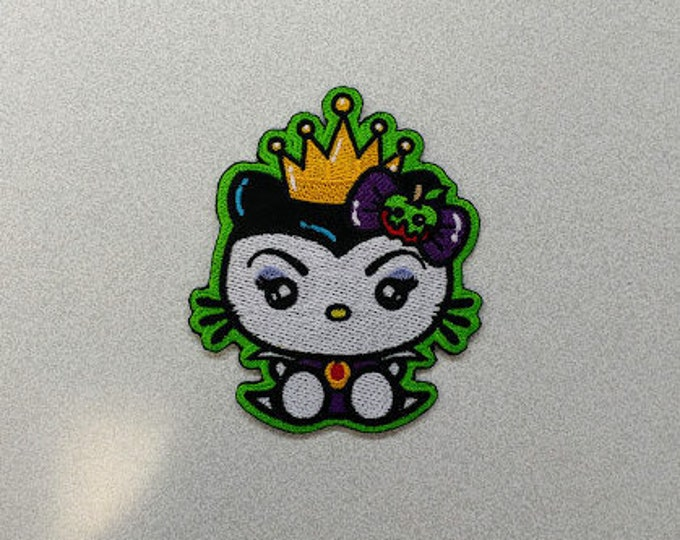 Villian Kitty Queen Embroidered Patch, Iron On Cartoon Evil Queen Patch