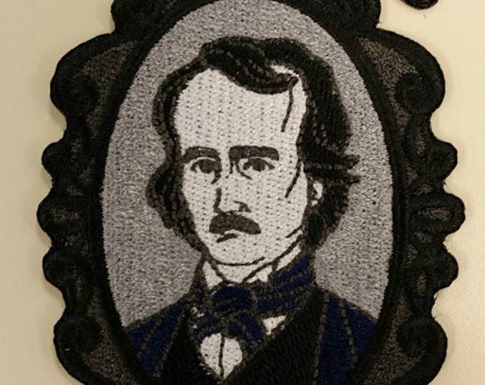 Embroidered Edgar Allan Poe Cameo Patch, Iron On Poe Patch, Raven Poe Patch, Literary Great Patch, Literature Patch