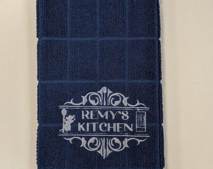 Cartoon Rat Inspired Embroidered Kitchen Towel