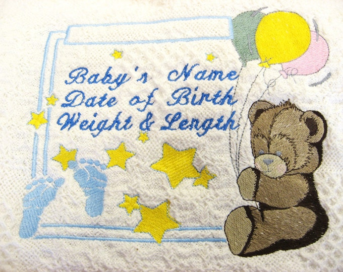 Personalized Embroidered Baby Afghan, Baby Blanket with Bear, Newborn Throw, Baby Shower Gift, Infant Blanket