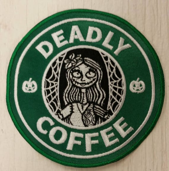 Coffee Spoof Embroidered Patch,  Sally Embroidered Patch, Deadly Coffee Patch, Knockoff Coffee Brand Patch, Iron On Patch, Nightmare Patch