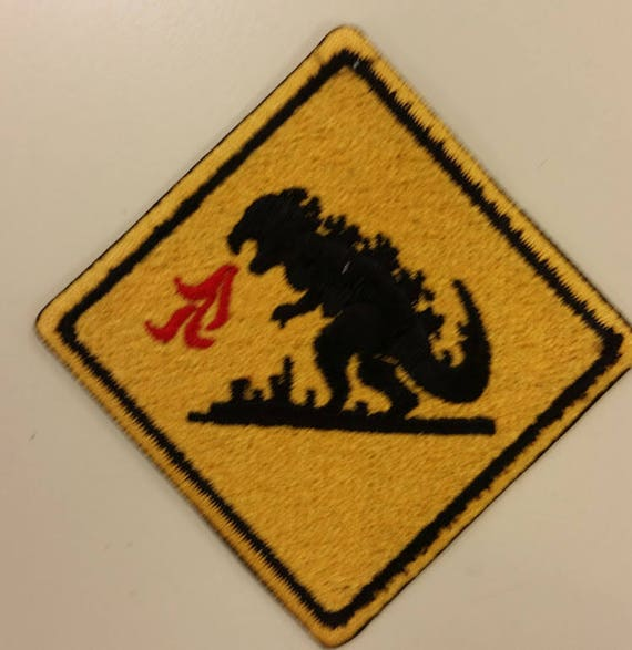Japanese Monster Warning Embroidered Patch,  Iron On Fiery Lizard Patch