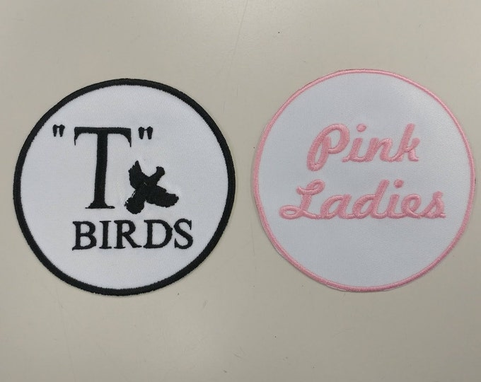 Musical Fan Embroidered Patch Set, T Birds and Pink Ladies Fan Patches