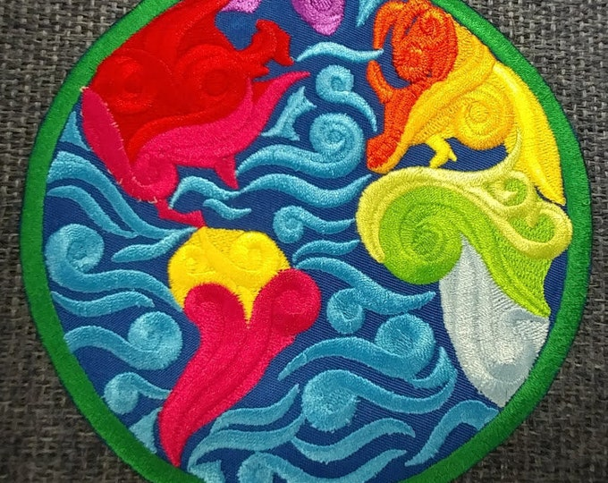 Large Abstract Earth Embroidered Patch,  Iron On World Patch