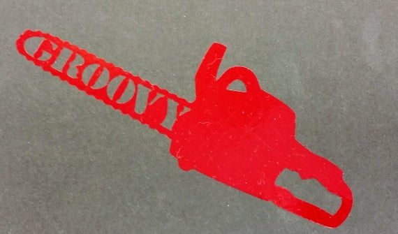 Groovy Evil Chainsaw Decal, Horror Movie inspired car window decal