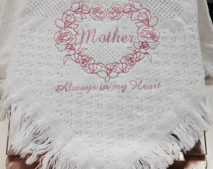 Beautiful Embroidered Afghan For Mom, Celebrate Mother's Love With This Heart Design, Mother's Heart, Embroidered Gift for Mom, Mom Present
