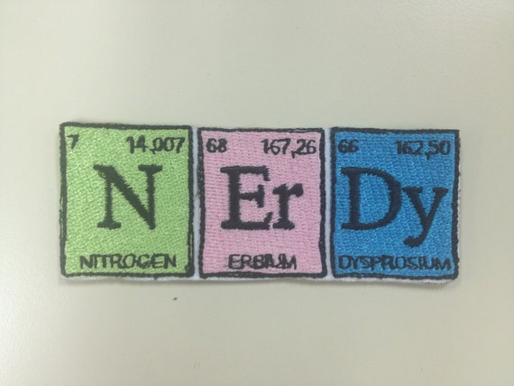Chemistry Style Nerdy Embroidered Patches,  Science Lover Iron On Patches,  Walter White Patch, Geeky Patches, Periodic Table Patch
