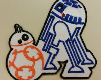 Droid Applique Embroidered Patch, Robot Patch, Geeky Embroidered Patch, Fun Intergalactic Fanwear Patch