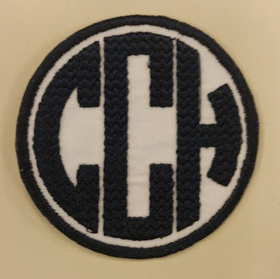 Personalized Initials Patch in Chevron Circle Font, Embroidered Initials Patch with Adhesive Back, Applique Circle Font Patch, Chevron Patch