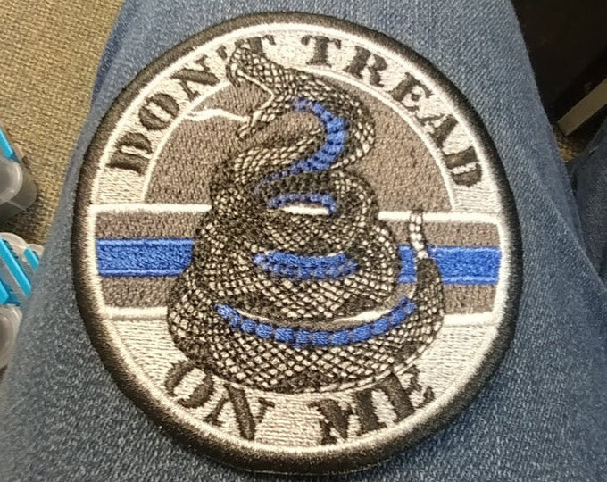 Don't Tread Snake Embroidered Patch, Thin Blue Line Iron On Patch