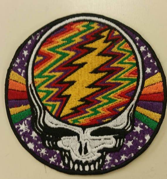 Dead Head Rainbow Skull Embroidered Patch,  Rock Band Iron On Patch, Skull Rainbow Bolt Patch