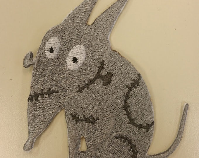 Cartoon Halloween Embroidered Dog Patch, Stitched up Dog Halloween Patch, Iron On Embroidered Sparky Patch