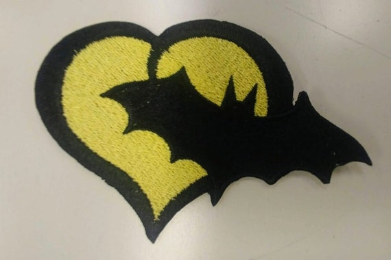 Bat Superhero Heart Love Embroidered Patch