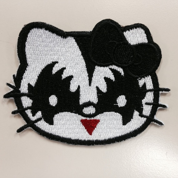 Kitty Rock Star Embroidered Iron On Patch, Cartoon Kitty Hard Rock Fan Patch, Cute Embroidered Patch, Cartoon Fan Patch, Music Fan Patch