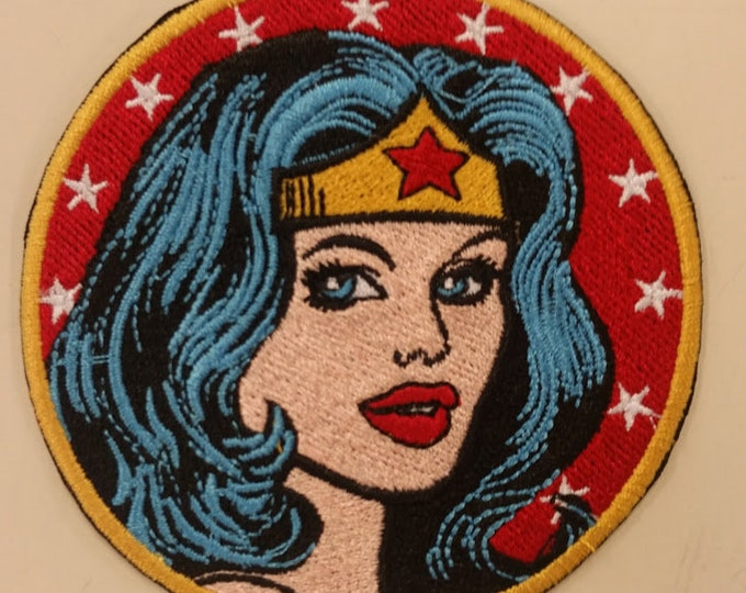 Female Superhero Embroidered Patch,  Wonder Hero Iron On Patch