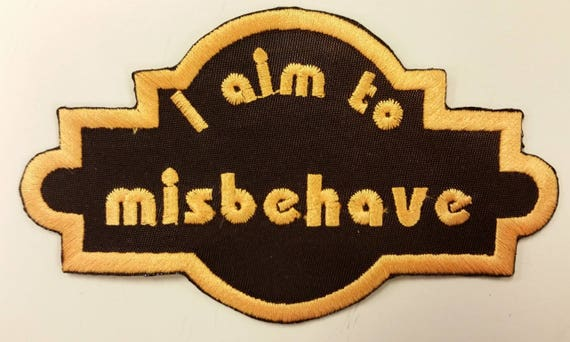 Sci Fi Inspired Embroidered Iron On Patch, Space Cowboy Patch, I aim to misbehave patch