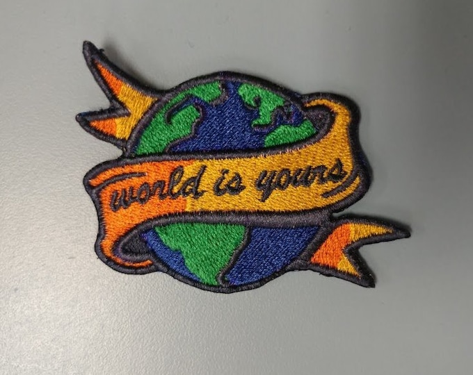 Travel Wanderlust Embroidered Patch, Iron on World travel patch
