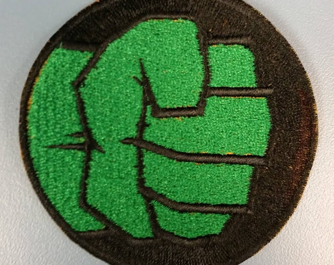 Green Superhero Fist Embroidered Patch, Iron On Superhero Patch
