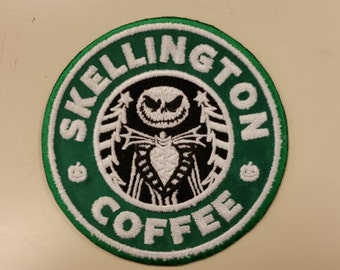 Skeleton Coffee Spoof Embroidered Patch, Halloween Skeleton Patch, Christmas Skeleton Coffee Patch, Iron On Spoof Patch, Geeky Fanwear Patch