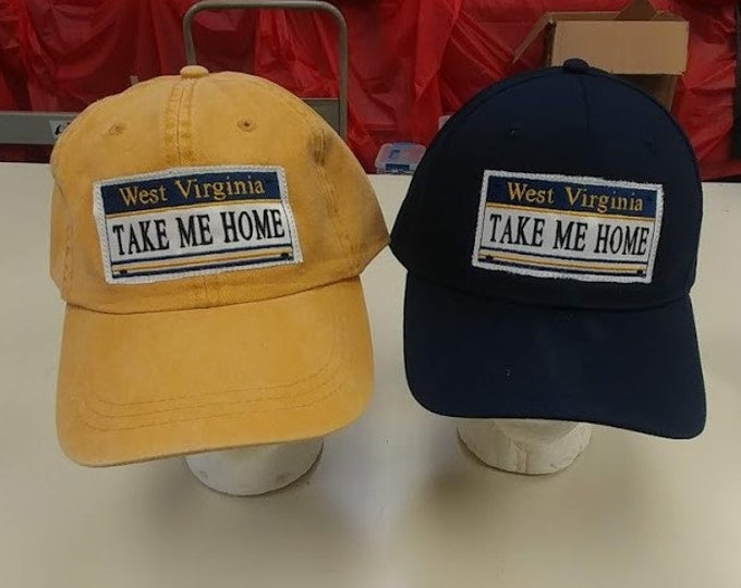 West Virginia License Plate Style Hats, West Virginia Take Me Home Caps