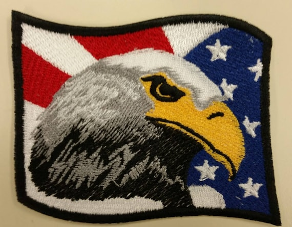 Patriotic Eagle Flag Embroidered Patch,  Wave flag American eagle patch, Iron on Patriotic patch