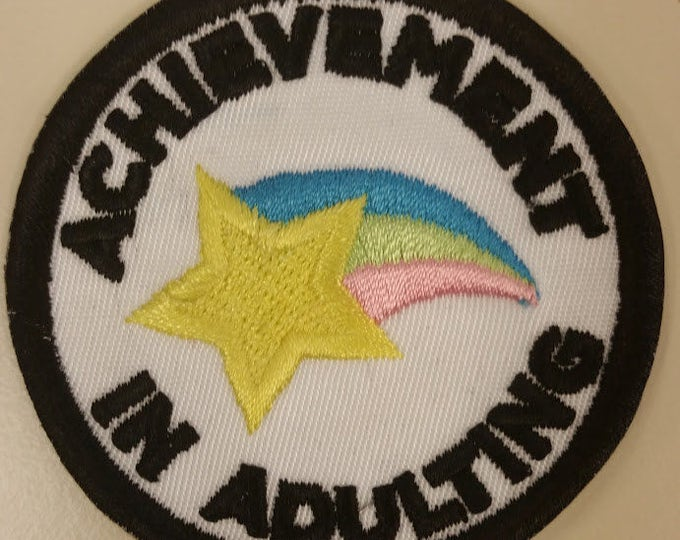 Adult Merit Badge Patch,  Achievement in Adulting Patch, Star with rainbow embroidered patch, Achievement Iron On Patch